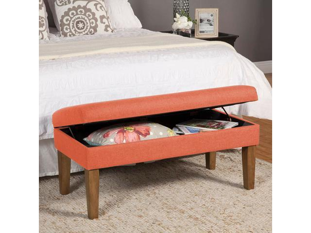 Enjoyable 40 Storage Bench With Hinged Lid Fabric Ottoman Entryway Bedroom Wooden Legs Newegg Com Ncnpc Chair Design For Home Ncnpcorg
