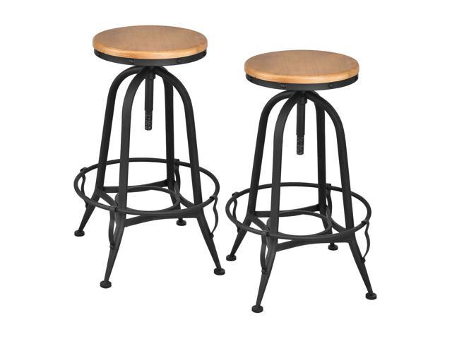 Marvelous Vintage Bar Stools Industrial Metal Design Wood Top Adjustable Swivel Set Of 2 Gmtry Best Dining Table And Chair Ideas Images Gmtryco