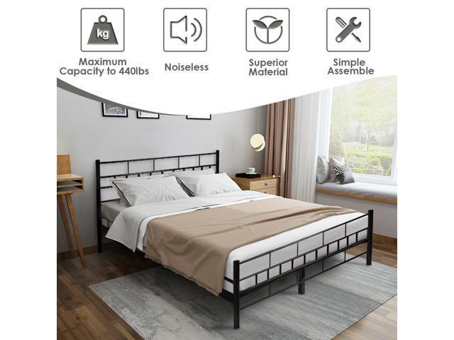 Black Queen Size Wood Slats Bed Frame, Wood Slat Bed Frame Queen