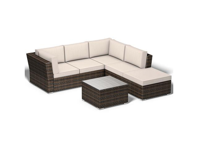 4PCS Wicker Cushioned Patio Rattan Furniture Set Sofa 5 Seat Garden Lawn -  Newegg.com