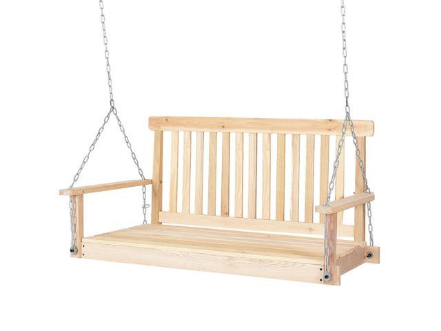 4 Ft Porch Swing Natural Wood Garden Swing Bench Patio Hanging Seat Chains