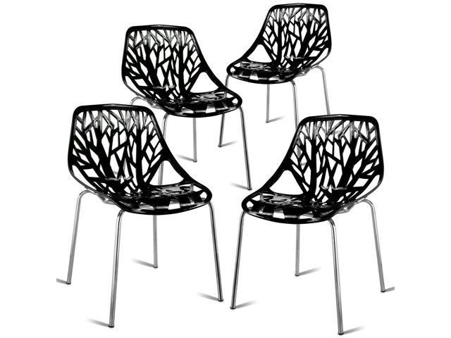 Terrific Set Of 4 Dining Chair Birch Sapling Accent Armless Side Chairs Stackable Black Newegg Com Caraccident5 Cool Chair Designs And Ideas Caraccident5Info