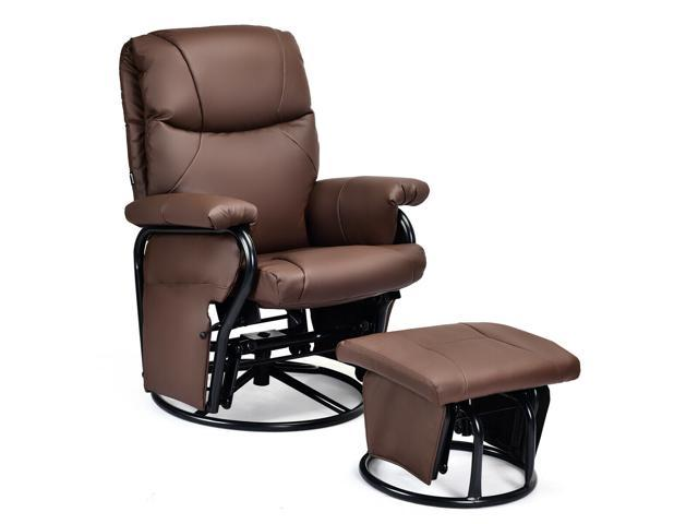 Remarkable Glider Recliner Swivel Rocking Chair Pu Leather Home Office W Short Links Chair Design For Home Short Linksinfo