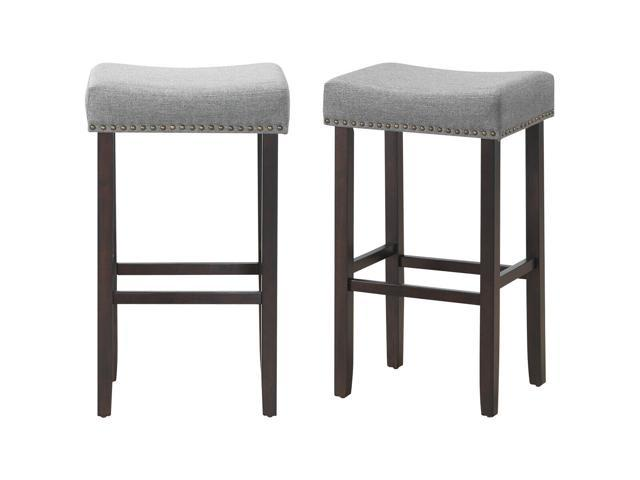 Set Of 2 Nailhead Saddle Bar Stools 295 Height W Fabric Seat Wood Legs Gray Neweggcom