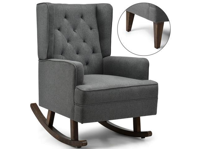 2 In 1 Tufted Rocking Chair Wingback Lounge Leisure Armchair Fabric Rocker Beige Newegg