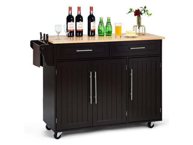 Kitchen Island Trolley Cart Wood Top Rolling Storage Cabinet W Knife Block Brown Newegg Com
