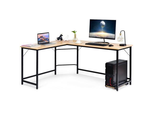 L Shaped Desk Corner Computer Desk PC Laptop Gaming Table Workstation  Natural
