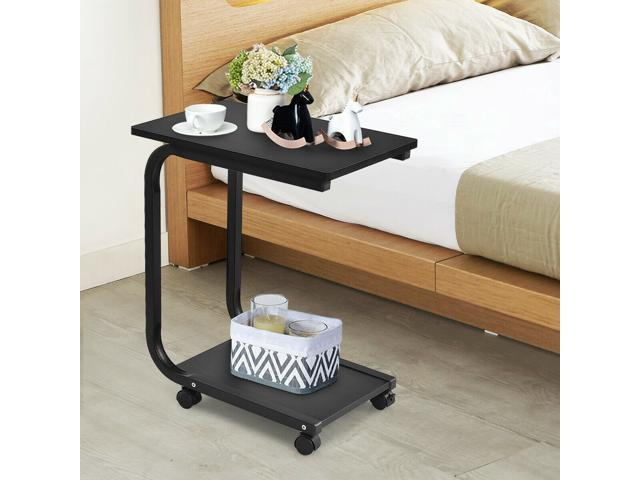 2 Tier Coffee Sofa Side End Table Tv Snack Stand Rolling Over Bed Laptop Pc Desk