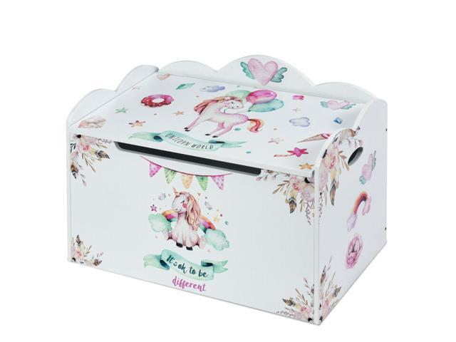 Pleasing Wooden Toy Box Storage Chest W Seating Bench For Kids Babies Unicorn Pattern Newegg Com Ncnpc Chair Design For Home Ncnpcorg