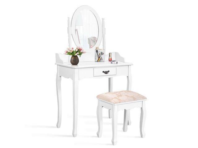 Surprising White Vanity Makeup Dressing Table Stool Set Jewelry Desk W Drawer Mirror Gmtry Best Dining Table And Chair Ideas Images Gmtryco