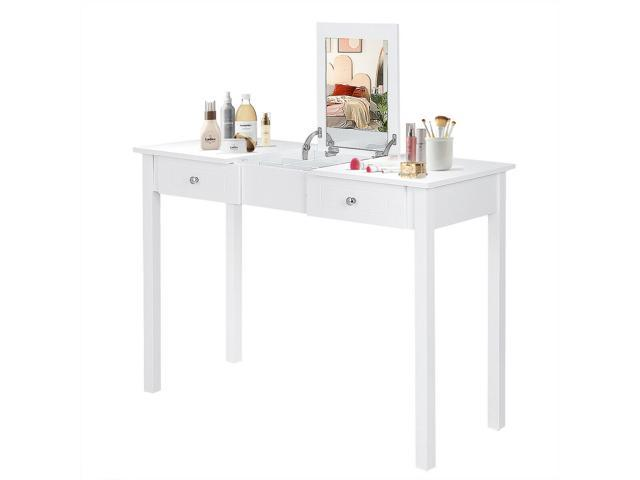 Vanity Table Dressing Flip Top Desk Mirror 2 Drawers Furniture White