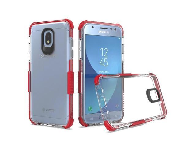 pretty nice 576bf 5f739 Transparent Protective Bumper Case for Samsung Galaxy J3 (2018) / J3  Achieve / J3 Star - Red - Newegg.com
