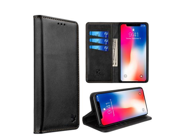 iphone xr leather wallet case black