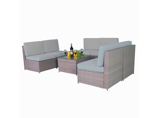 Mcombo Outdoor Patio Gray Wicker Furniture Sectional Set All-Weather Resin  Rattan Chair Conversation Sofas with Water Resistant Cushion Covers ...