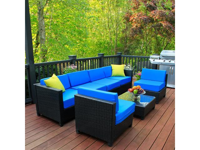Tremendous Mcombo 7 Pc Deluxe Outdoor Garden Patio Rattan Wicker Furniture Sectional Sofa Cushioned Seats Blue Onthecornerstone Fun Painted Chair Ideas Images Onthecornerstoneorg
