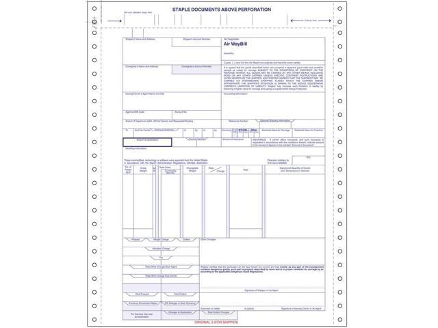 international air waybill form 4 part snap set 9 12