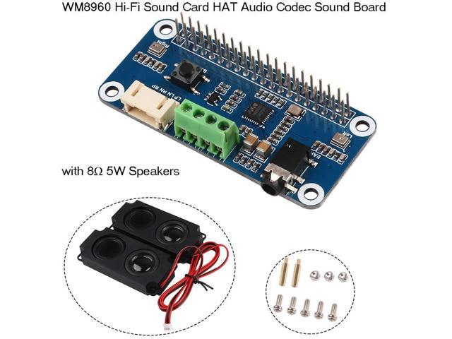 MakerHawk WM8960 Hi-Fi Sound Card HAT Audio Codec Sound Board Amplifier  Module WM8960 I2S Expansion Board, with 2pcs Arduino Speaker 5 Watt 8 Ohm  for
