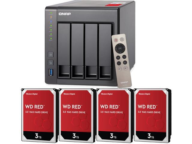 QNAP Ts-453Be-2G 16TB 4 Bay Desktop NAS Solution Installed with 4 x 4TB Western Digital Red Drives