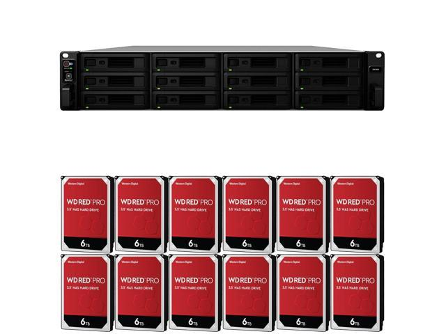 Synology SA3400 Enterprise NAS with 16GB Synology RAM and 72TB (12 x 6TB)  Western Digital PRO NAS Drives Assembled and Tested By CustomTechSales -