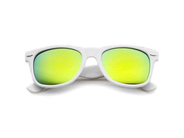 1ddc6ba27fd zeroUV - Hipster Fashion Flash Color Mirror Lens Horn Rimmed Style  Sunglasses (White   Sun)