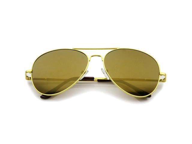 419e6ce8b8ad0 Classic Metal Frame Spring Hinges Color Mirror Lens Aviator Sunglasses 58mm  (Gold   Gold Mirror