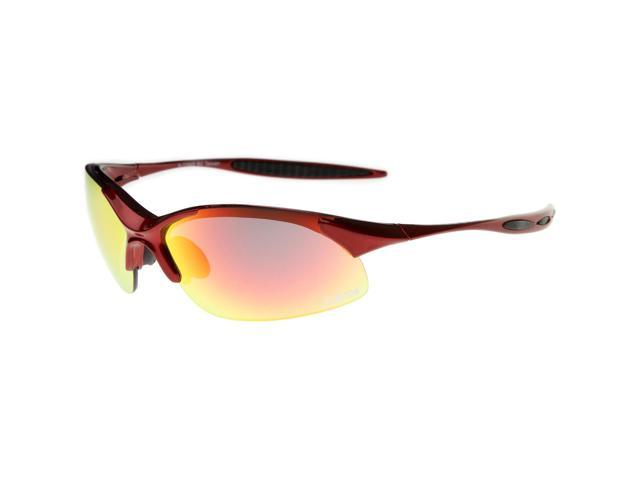 ff6546e395 Beton - Olympus - Two-Toned Half-Frame Iridescent Lens TR-90 Sports Wrap  Sunglasses 68mm (Red-Black   Red-Orange Mirror)