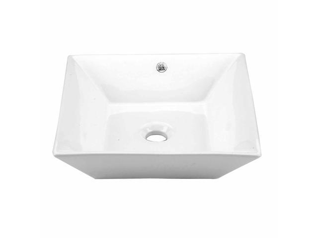 Bathroom Vessel Sinks Square White No Overflow Porcelain Ceramic Art Set of  2