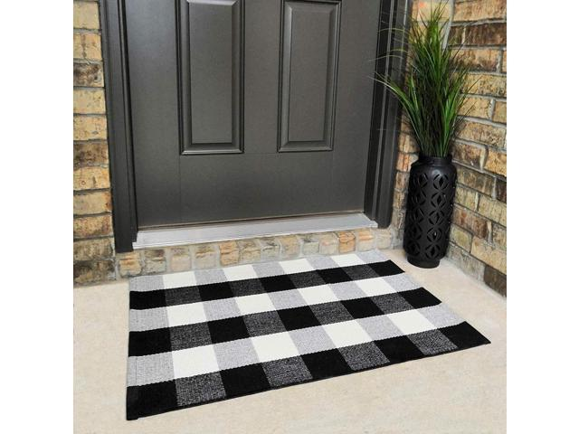 Cotton Buffalo Plaid Rugs Black and White Checkered Rug Welcome Door Mat  (23.6\