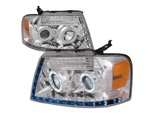 Spec-D Tuning 2LHP-F15004JM-TM Ford F150 Dual Halo Led Black Projector Head Lights