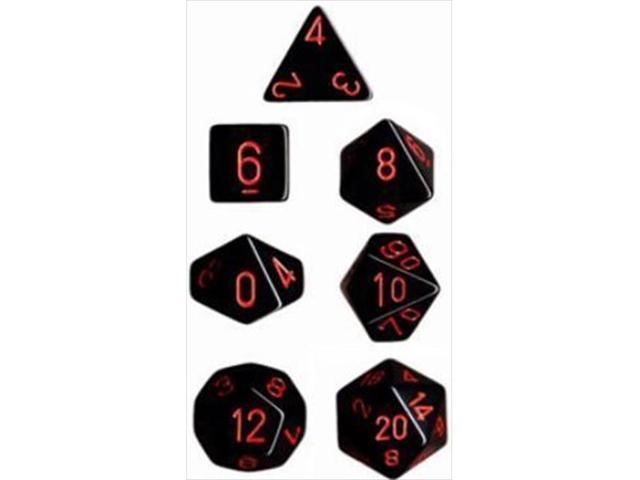 Chessex Manufacturing Opaque Black With Red Polyhedral Dice Set Of 7 CHX 25418