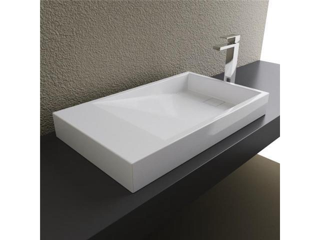 Cantrio Koncepts St 30184 Solid Surface Above Counter Bathroom Sink White Newegg Com