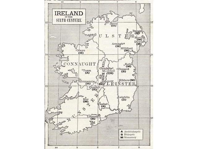 Print Map Of Ireland.Posterazzi Dpi1862769 Map Of Ireland In The Sixth Century From The Book The Church Of England A History For The People Published C1910 Poster Print