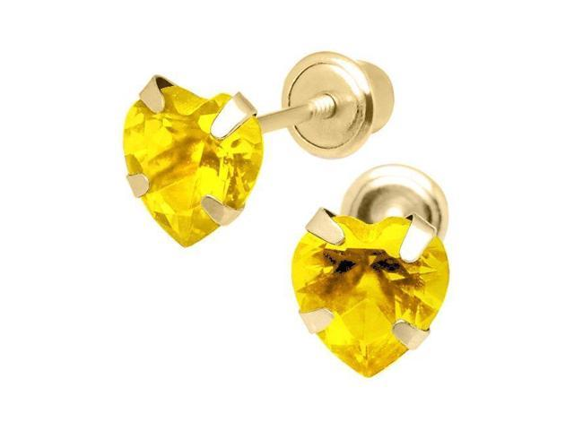18K Yellow Gold Heart Earrings with covered screwbacks 4mm