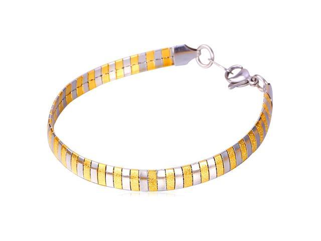 37519ce94fcfc U7 INOX Stainless Steel 18K Gold Plated Omega Chain Bracelet Two Tone Color  Snake Chain Bracelets Length 8'' Chic Fashion Jewelry for Men or Women - ...