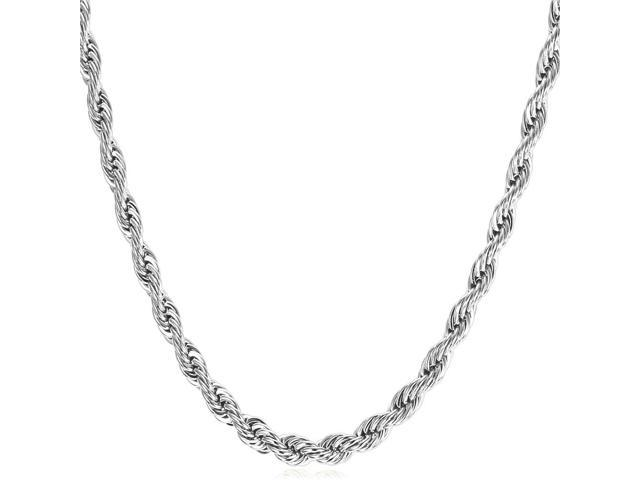 1ac40e180d1c3 U7 Rope Chain Necklace Stainless Steel/Black Gun Plated/18K Gold Plated  Twist Chain Necklaces Width 0.1'' Five Size Optional Fashion Jewelry for ...