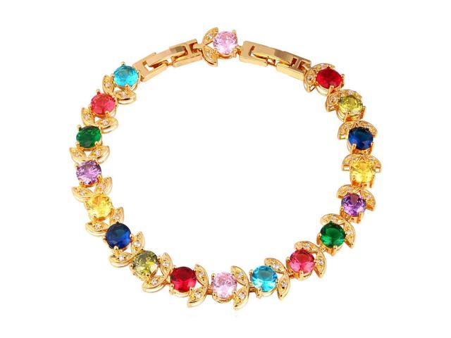 U7 Candy Color Zirconia Inlaid Bracelets Flower Charms Platinum Yellow Gold Plated Round Stone Elegant Fashion Jewelry For Women