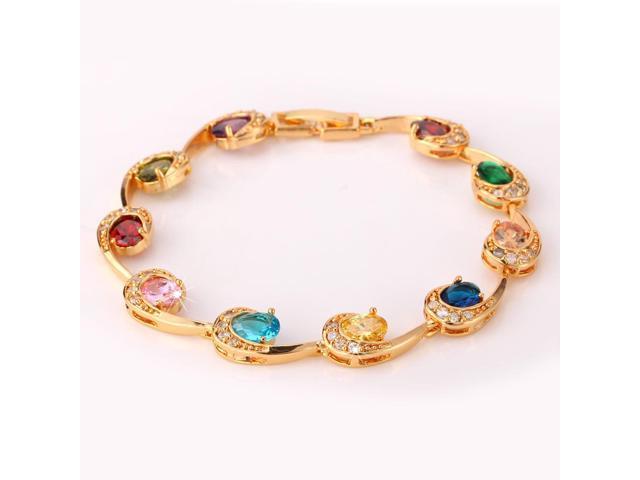U7 Candy Color Cubic Zirconia Bracelet Platinum/Yellow Gold Plated Bracelet Oval Stone Fancy Accessories