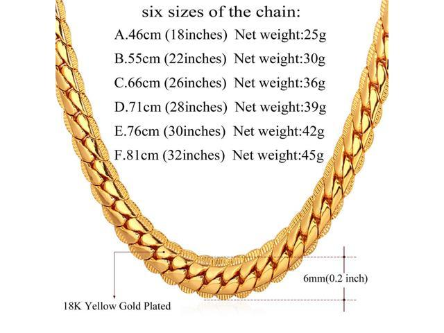 356c824b5bedf U7 18K Gold Plated Chain Men Summer Jewelry 6MM Unique Snake Chain Necklace  18 Inch - Newegg.com