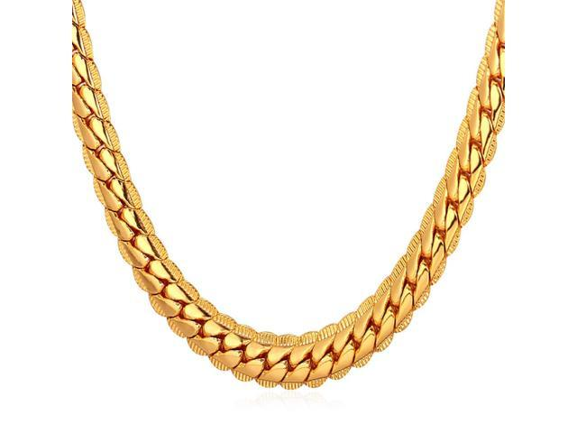 9868cefe75d8 U7 18K Gold Plated Chain Men Summer Jewelry 6MM Unique Snake Chain Necklace  18 Inch