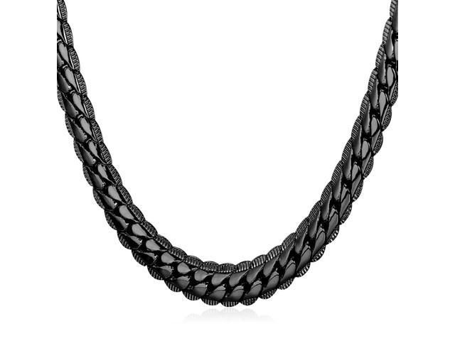 U7 Hot Sale Snake Chain Necklace Platinum/Yellow Gold/Rose Gold/Black Gun Plated Four Colors 6 Size Optional Width 0.2'' Chain Necklaces Fashion Jewelry for Men
