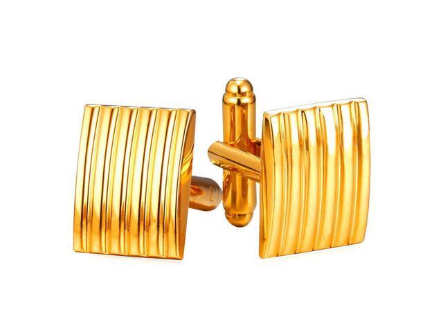 U7 Men Enamel Platinum Plated//18K Gold Square Shirt Studs Cufflinks