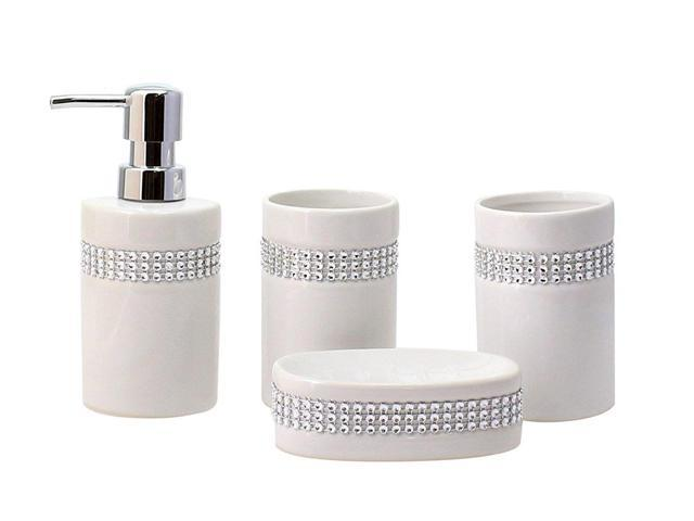 19bbf4a10794 JustNile 4-Piece Bathroom Accessory Set - Elegant Ceramic White and Crystal  Stripe