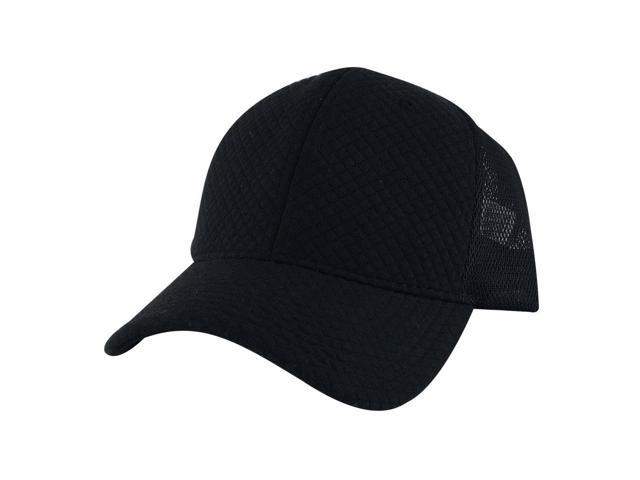 CapRobot SPC1604 Plain Mid Crown Quilt Snapback Adjustable Mesh Trucker Cap  Hat - Foam Black - Newegg com