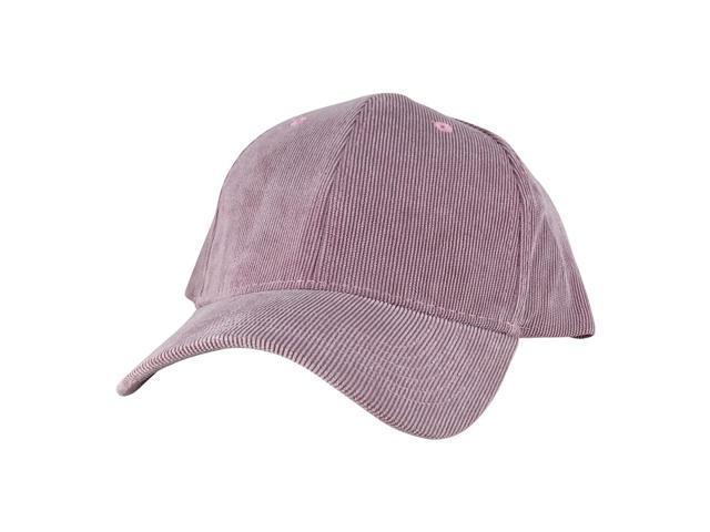 c443e0a8192 Corduroy Mid Crown Curved Visor Hook-and-Loop fastener Adjustable Cap Hat - Light  Pink