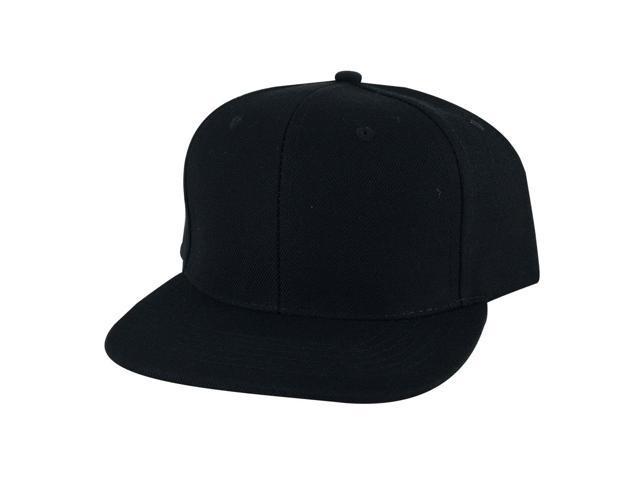 Plain Flat Brim Wool  PL12 Series Skateboard Snapback Hat Cap by CapRobot -  Black 3ff54c6bd94b