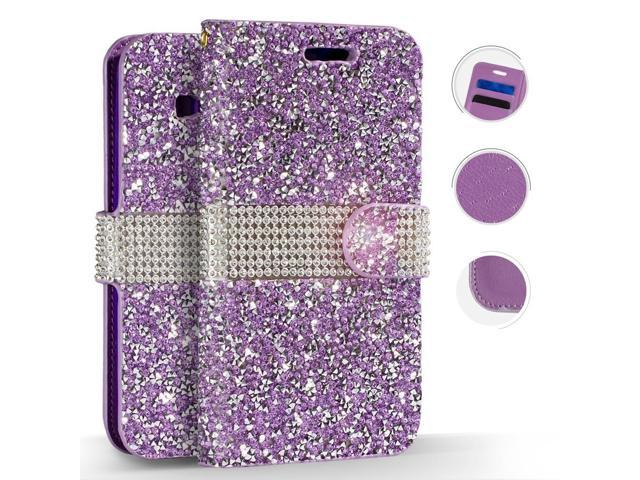 san francisco 5ddd5 39631 Samsung Galaxy J3 Emerge Case, ZV Diamond Bling Wallet Pouch w/ Slots And  ID Holder - Protective Wallet Case for Galaxy J3 Prime / Amp Prime 2 - ...