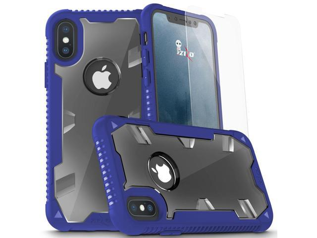 reputable site a93ec 6b171 Zizo PROTON 2.0 Series compatible with iPhone X Case Military Grade Drop  Tested with Tempered Glass Screen Protector iPhone XS Case BLUE CLEAR - ...