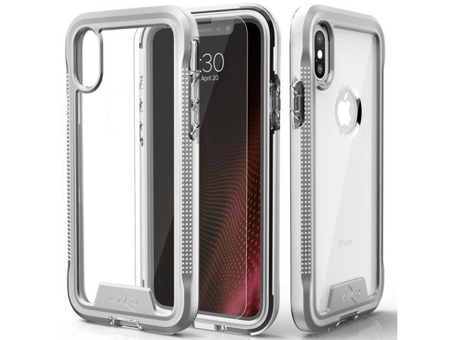 official photos 03fc0 4664d Zizo ION Series compatible with iPhone X Case Military Grade Drop Tested  with Tempered Glass Screen Protector iPhone XS Case SILVER CLEAR -  Newegg.com