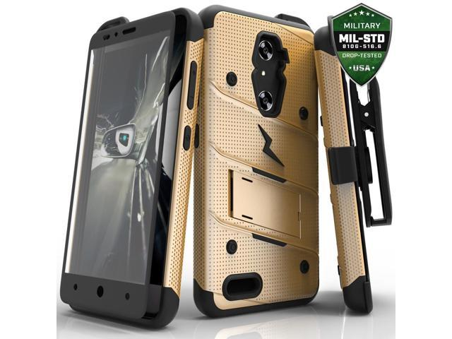 new york 73343 25aeb ZTE ZMax Pro Case, Zizo [Bolt Series] w/FREE [ZTE ZMax Pro Screen  Protector] Kickstand [Military Grade Drop Tested] Holster Clip- ZTE Grand X  Max 2 - ...