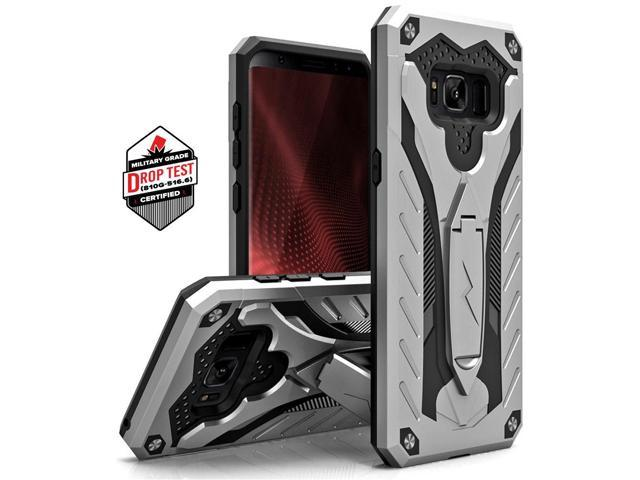new style 9ff3d 3ac51 Zizo STATIC Series compatible with Samsung Galaxy S8 Case Military Grade  Drop Tested with Built In Kickstand SILVER BLACK - Newegg.com